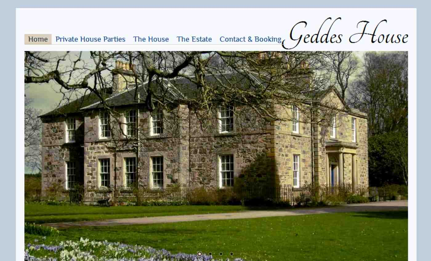 Screen shot of Geddes House website