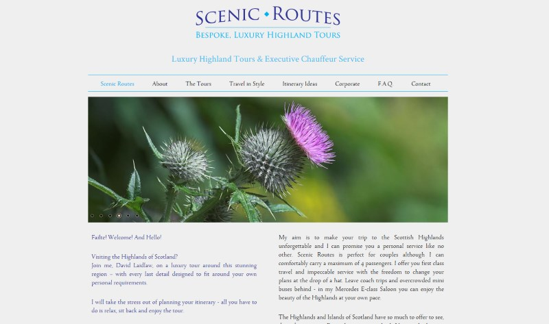 Scenic Routes website snapshot